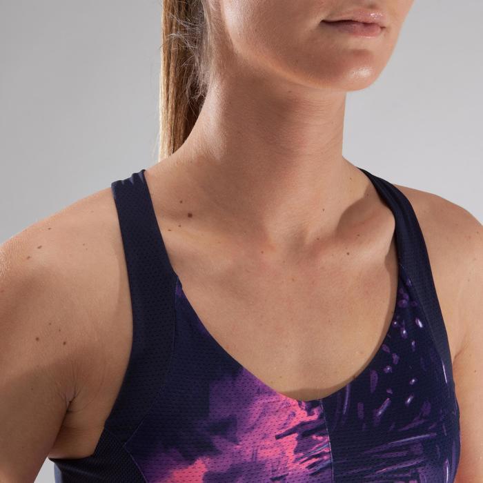 Brassière fitness cardio femme à imprimés tropicaux roses 500 Domyos - 1321681