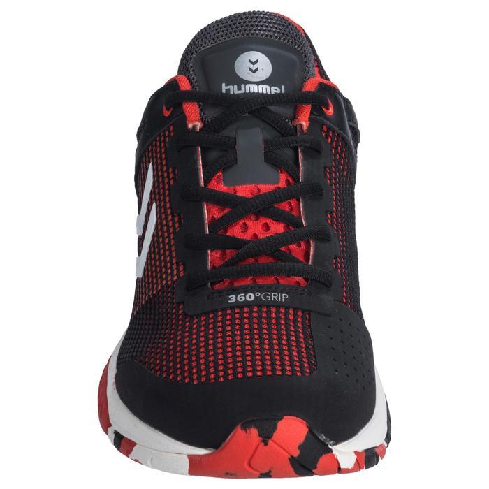 Chaussures de Handball HB180 adulte de couleur noir et rouge.