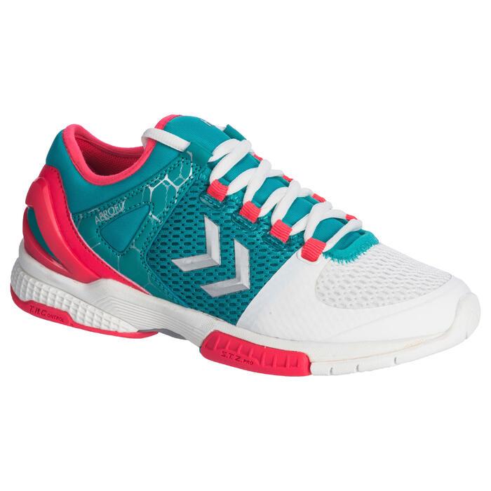 Chaussures de Handball HB200 AEROCHARGE adulte de couleur vertes et roses - 1321756