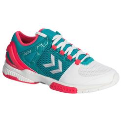 Zapatillas de balonmano HB200 AEROCHARGE adulto color verde y rosa