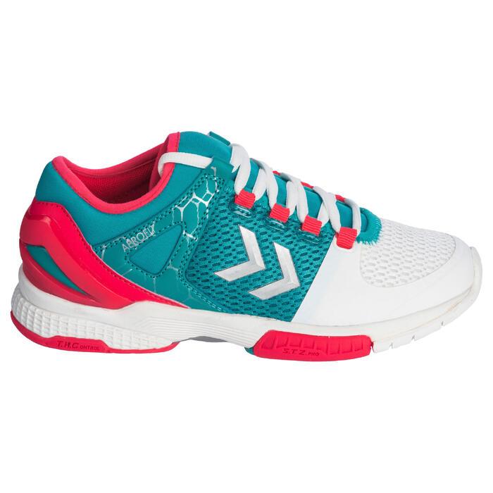 Chaussures de Handball HB200 AEROCHARGE adulte de couleur vertes et roses - 1321757