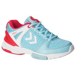 Zapatillas de balonmano HB200 Junior color azul y rosa