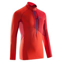 Sweater heren Alpinism 1/2 rits vermiljoenrood
