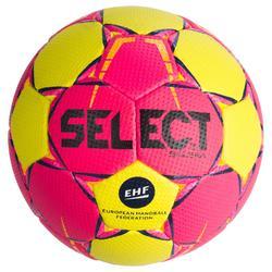 Balón de balonmano Select SOLERA color Rosa y Amarillo talla 2