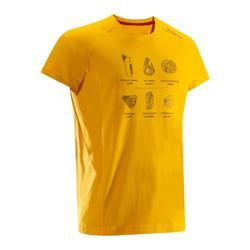 Heren T-shirt Comfort met korte mouwen voor klimmen goudgeel