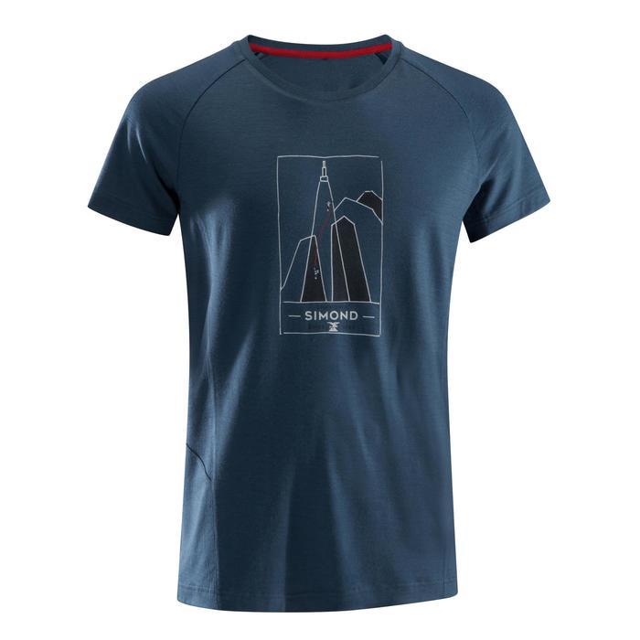 Kletter-T-Shirt kurzarm Merinowolle Herren grau