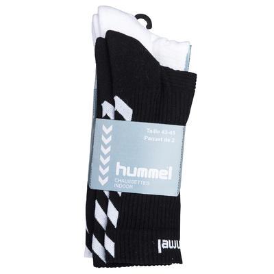 Lot de deux chaussettes de handball adulte blanc / noir