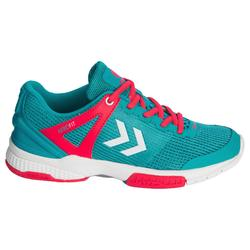 Zapatillas de balonmano HB180 adulto color Mentol y Rosa.