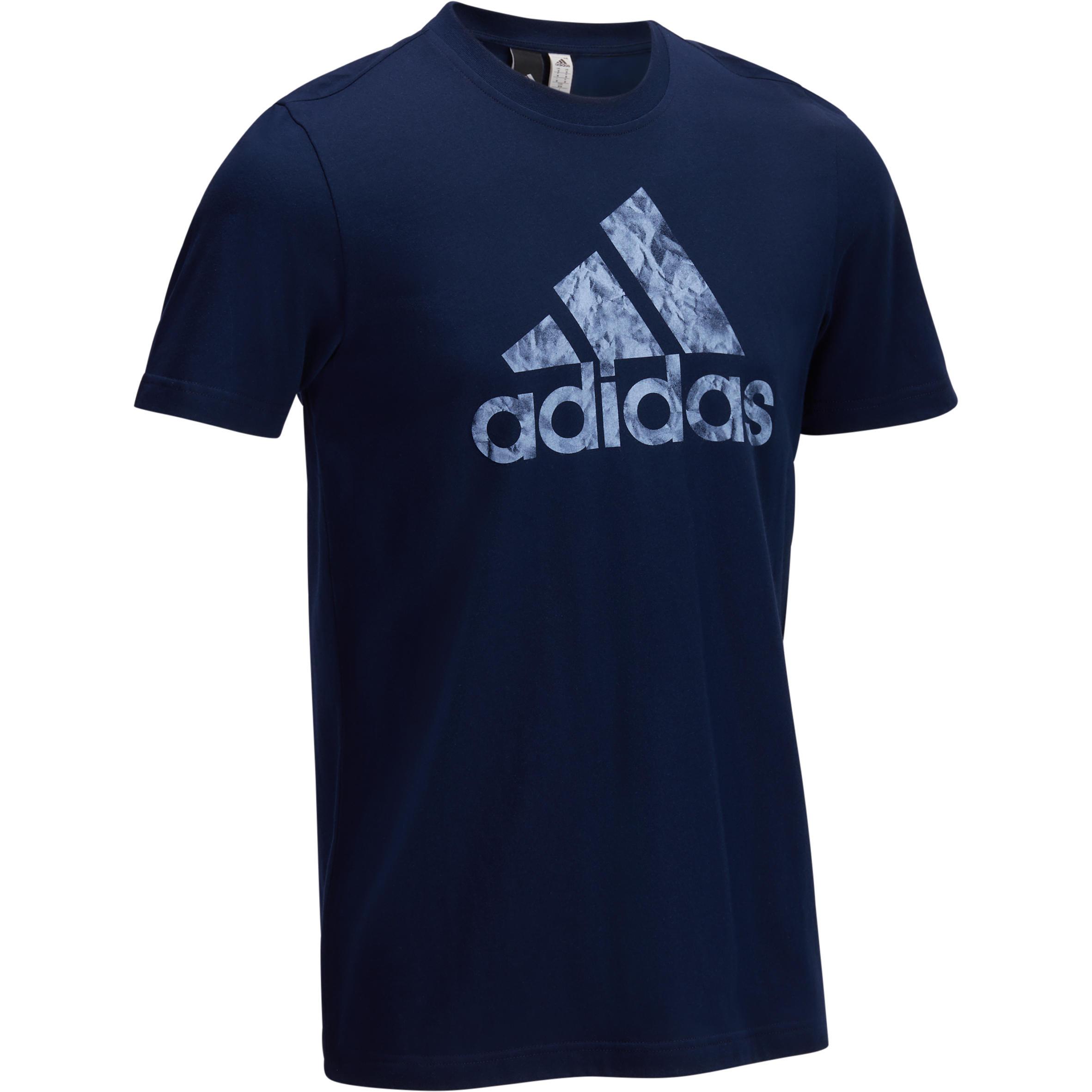 Adidas Heren T-shirt Adidas voor gym en pilates grafisch logo donkerblauw