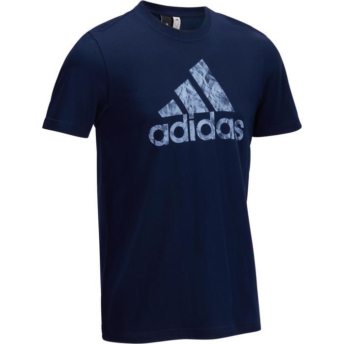 Camiseta de gimnasia y pilates Adidas logotipo gráfico azul oscuro