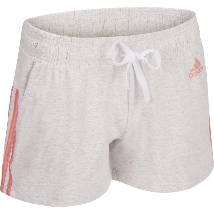 Pantalón Corto Gimnasia y Pilates Adidas Algodón 3 Franjas Mujer Gris Claro  Rosa 8681d1d8d783
