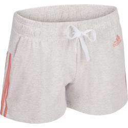 Katoenen damesshort voor gym en pilates van Adidas, 3 strepen