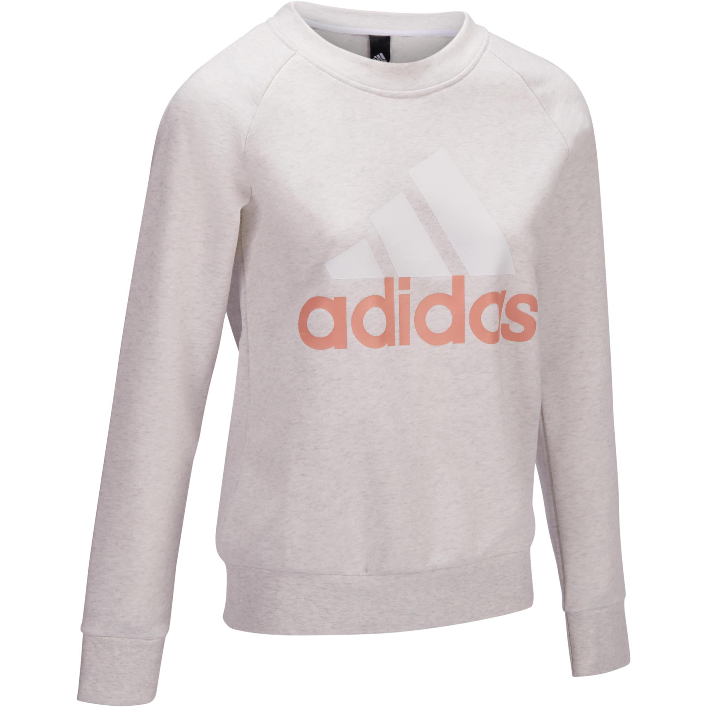 Adidas Damessweater voor gym en pilates, met ronde hals, Adidas, met logo