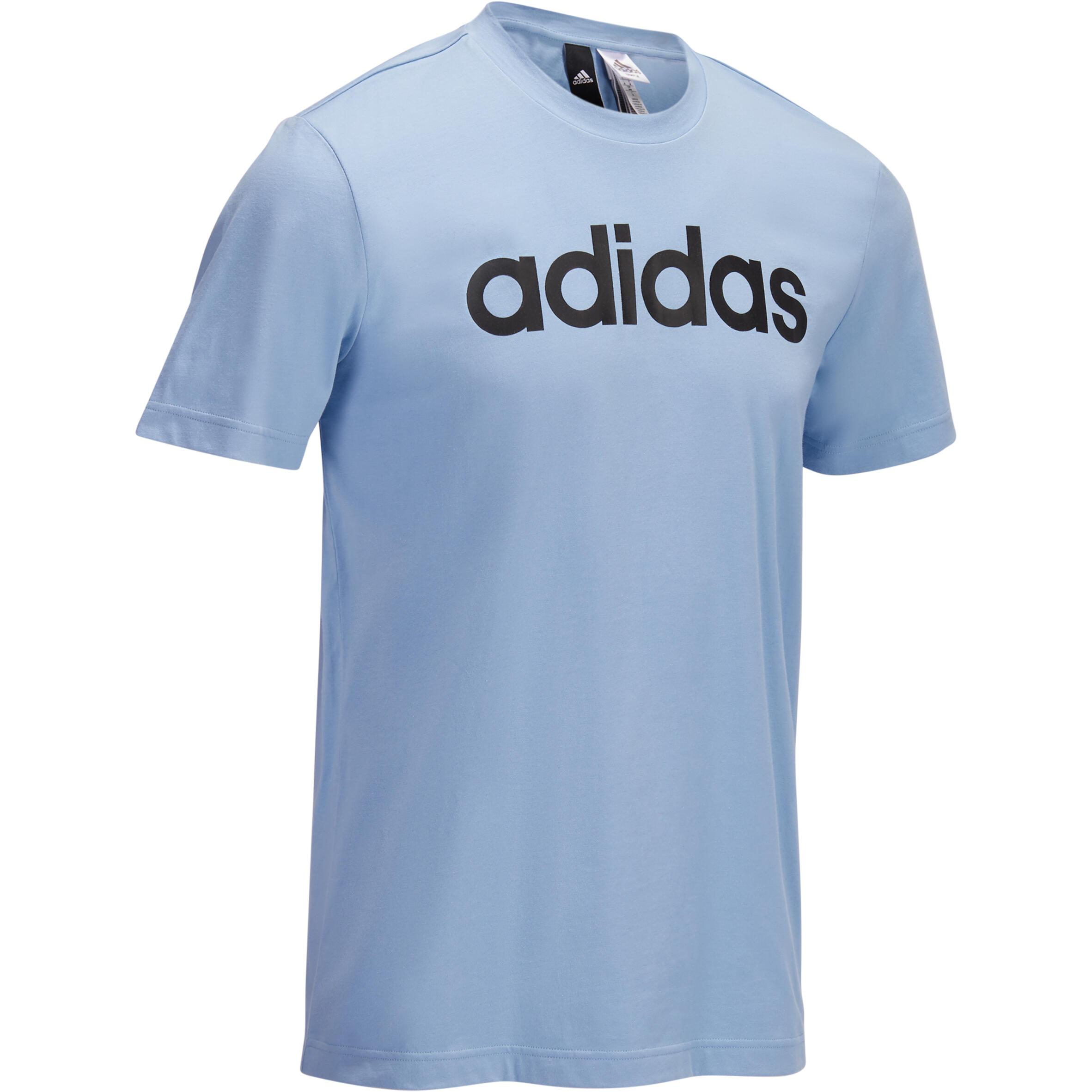 Adidas Heren T-shirt Adidas voor gym en pilates grafisch logo blauw