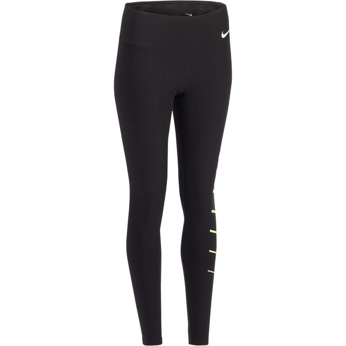 Leggings 100 Gym Stretching Damen schwarz mit Druck