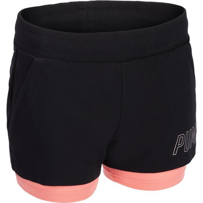 2-in-1 damesshort Puma voor gym en pilates zwart