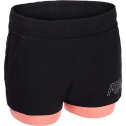 2-in-1 damesshort Puma voor gym en pilates zwart