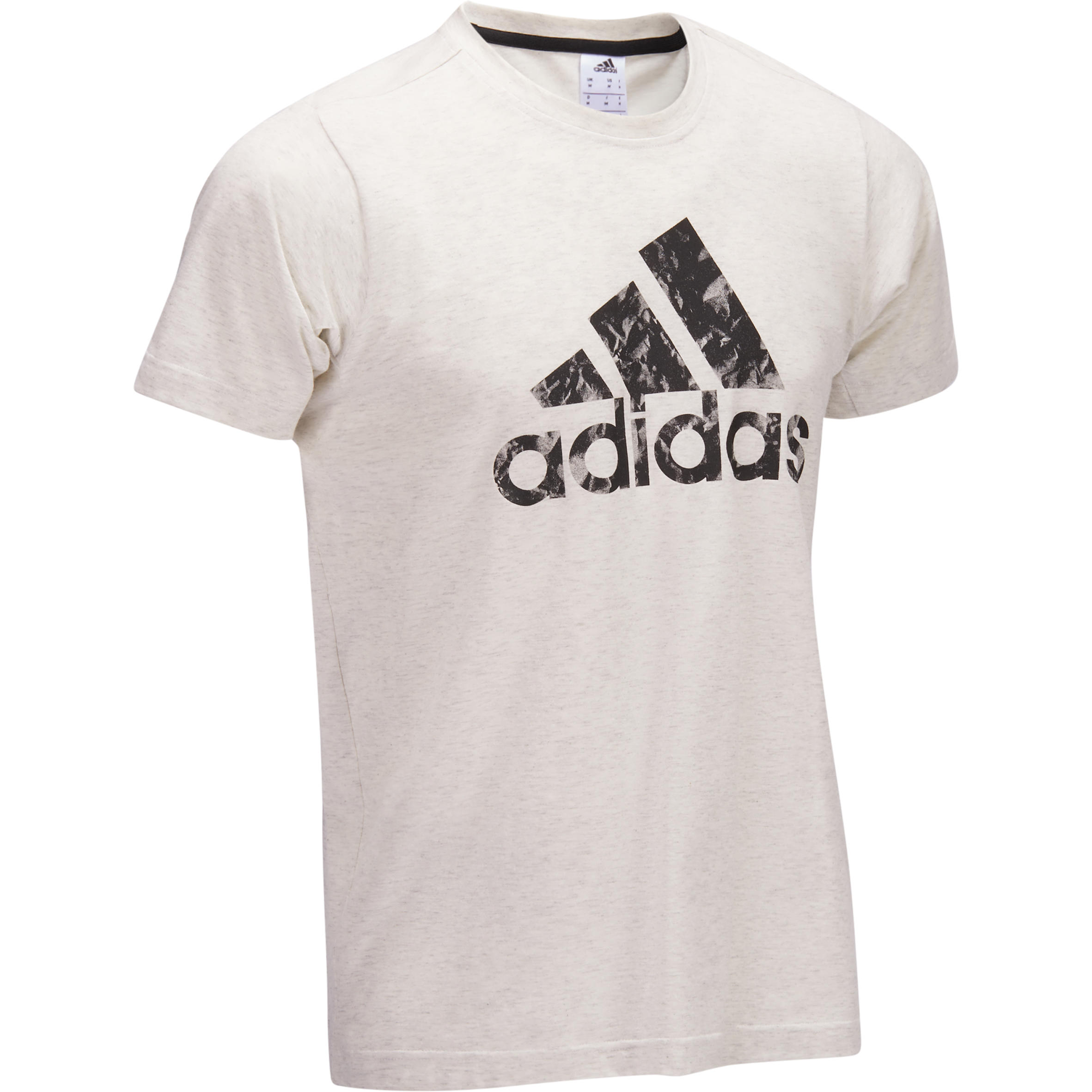 Adidas Heren T-shirt Adidas voor gym en pilates wit met zwarte motieven