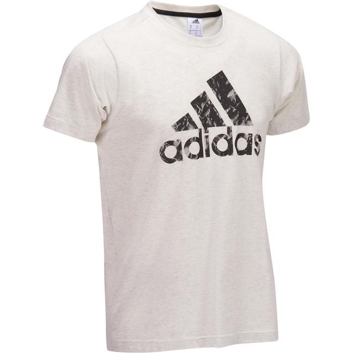 Heren T-shirt Adidas voor gym en pilates wit met zwarte motieven