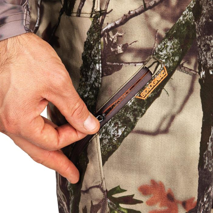 Pantalón de caza silencioso transpirable 500 D CAMUFLAJE MARRÓN