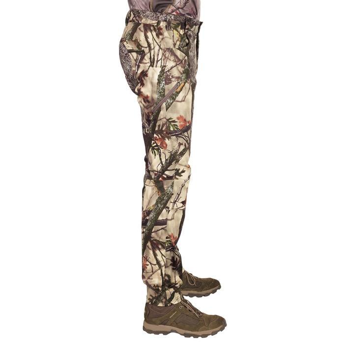 透氣靜音狩獵長褲500D-迷彩棕色