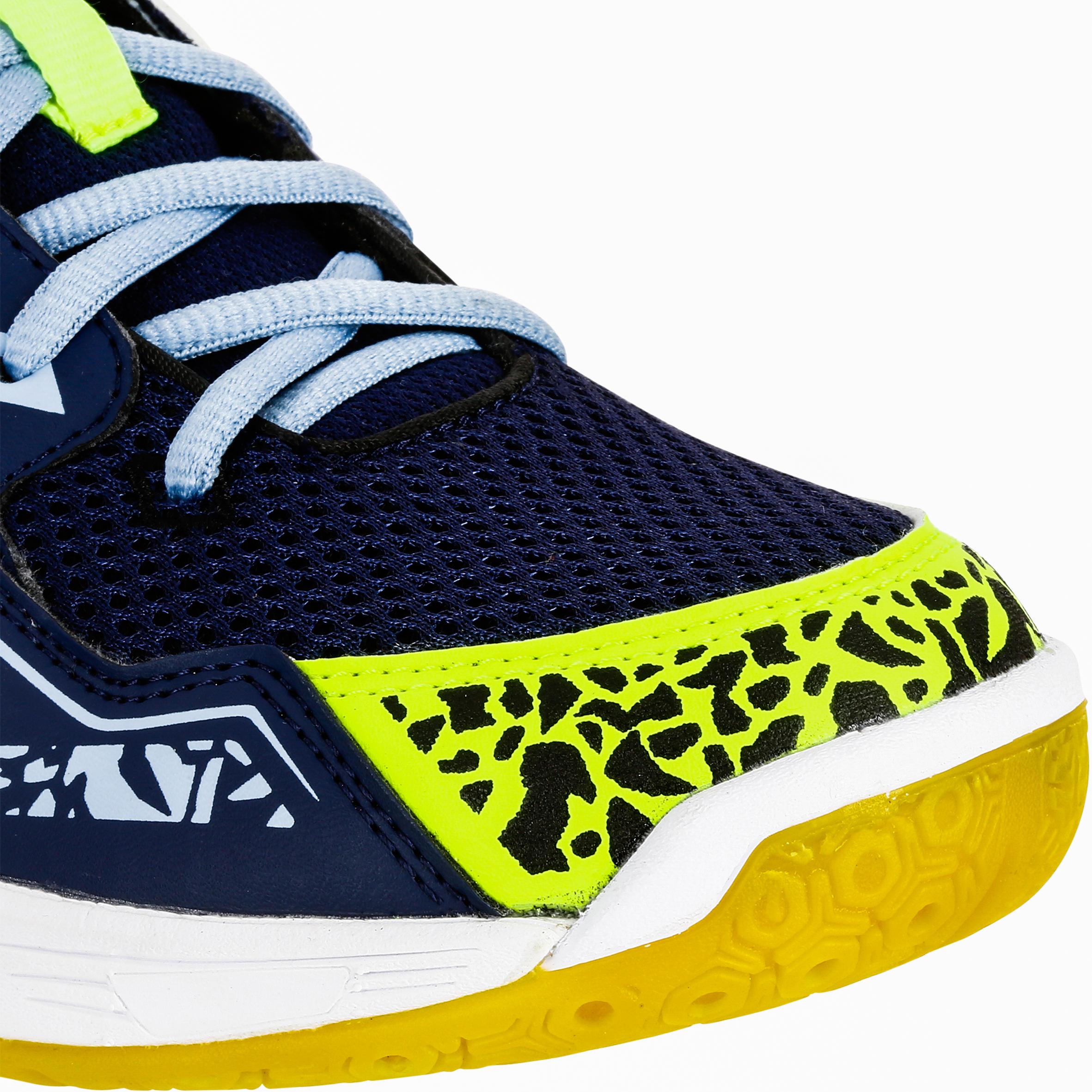 H100 Boys' Hook&Loop Handball Shoes - Blue/Yellow