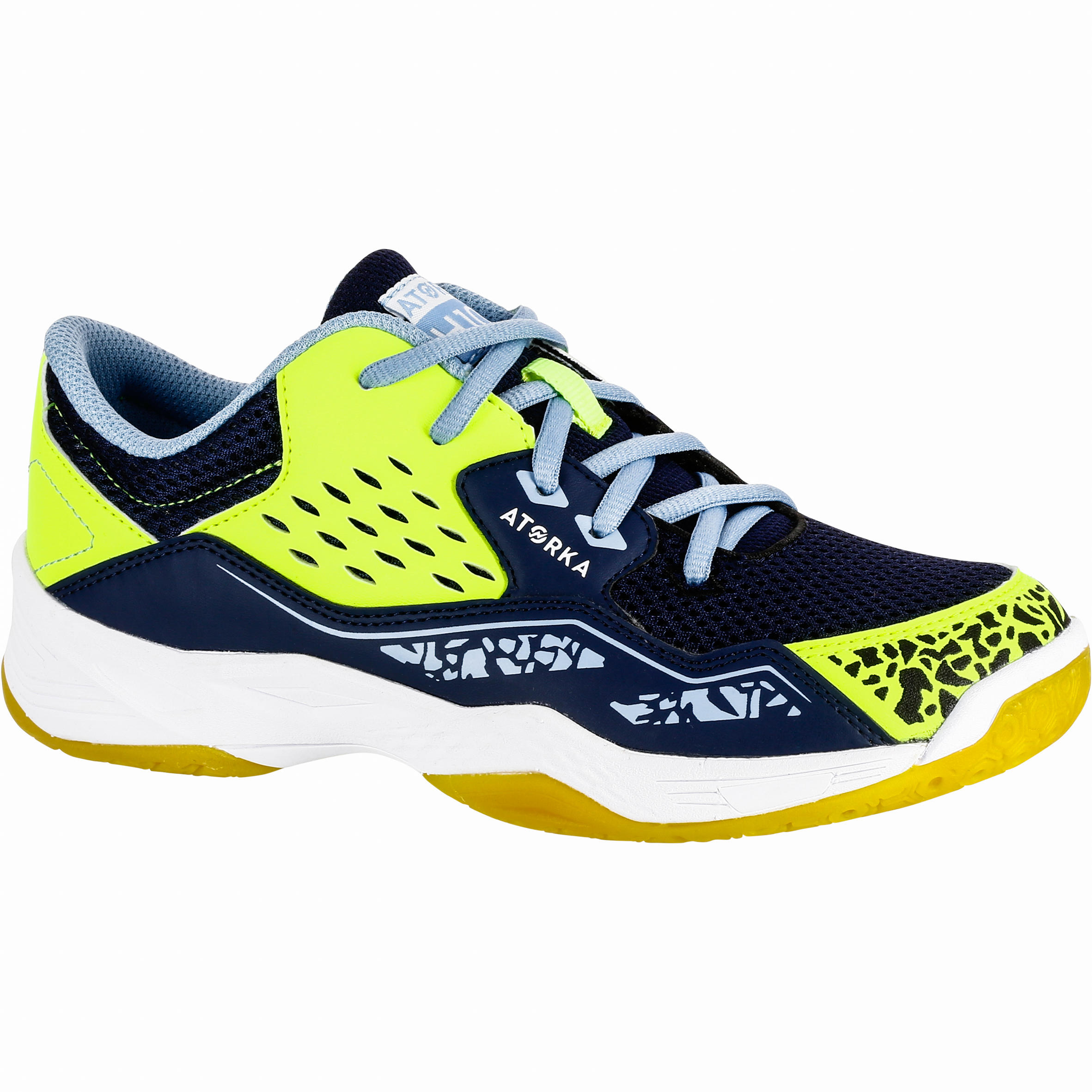 Chaussures de handball H100 garçon avec autoaggripant bleues et jaunes