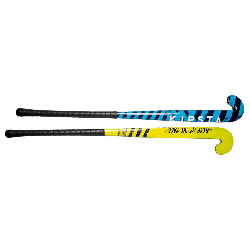 Palo de Hockey niños iniciación/adulto ocasional madera/FB FH100 amarillo/azul