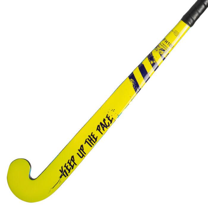 Hockeystick beginnende kind/volw recreatief FH100 hout/glasvezel geel blauw