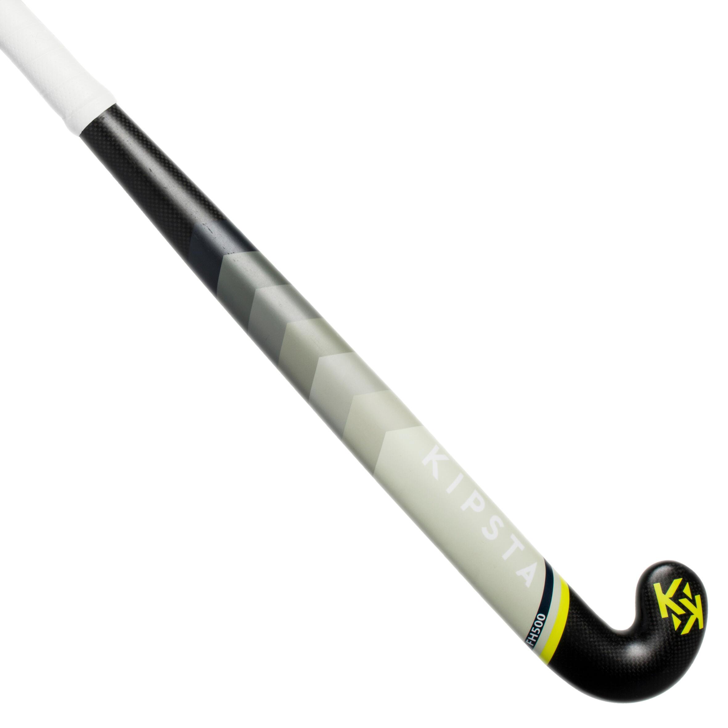 Kipsta Hockeystick voor gevorderde volwassenen midbow 50% carbon FH500 geel