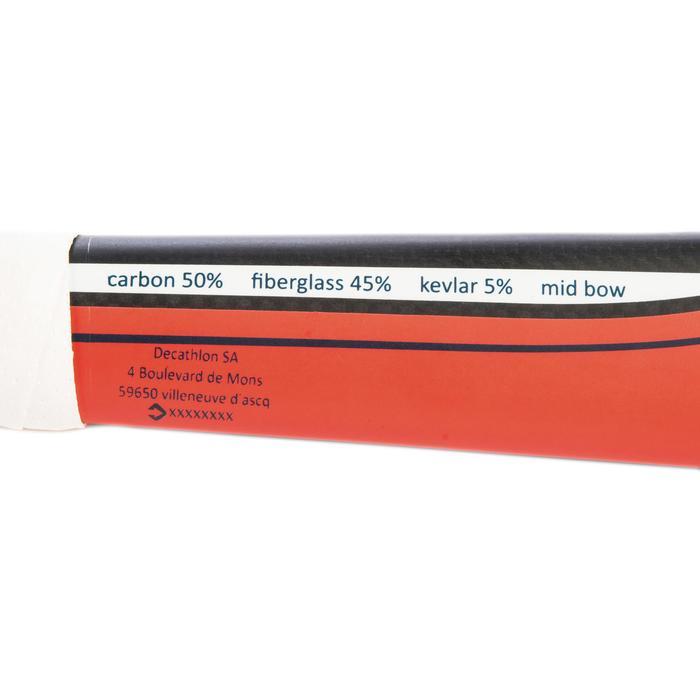Hockeystick voor gevorderde volwassenen midbow 50% carbon FH500 koraalrood