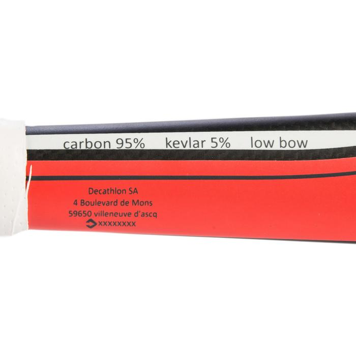 Hockeystick voor gevorderde volwassenen lowbow 95% carbon FH900 koraalrood