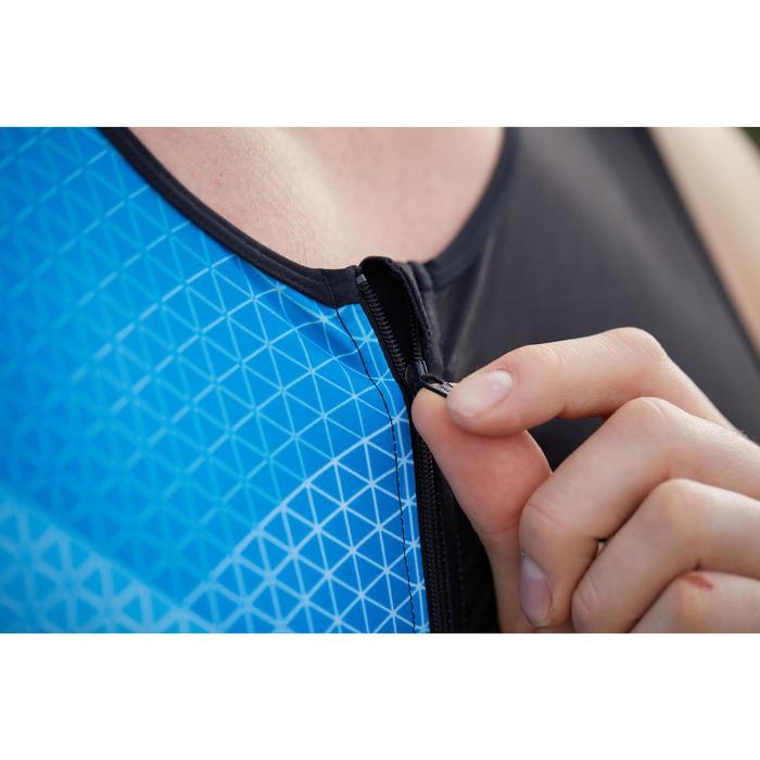 Trisuit heren / jongens zwart blauw mouwloze trisuit
