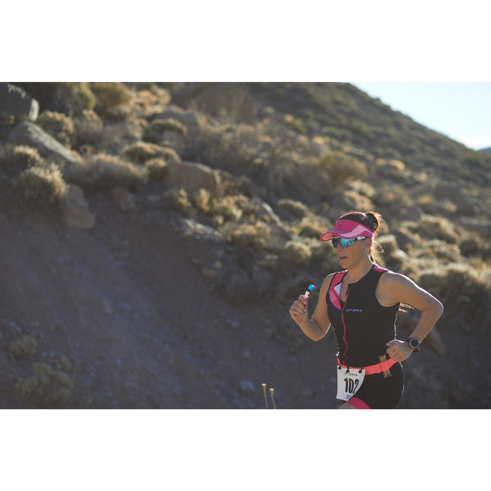 Prenda Superior Tritraje Triatlón Aptonia Mujer Negro Rosa Sin Mangas Cremallera
