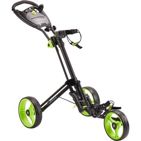chariot de golf 3 roues compact noir roues jaune fluo inesis golf. Black Bedroom Furniture Sets. Home Design Ideas