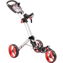 Driewiel trolley voor golf compact wit/koraalroze wielen