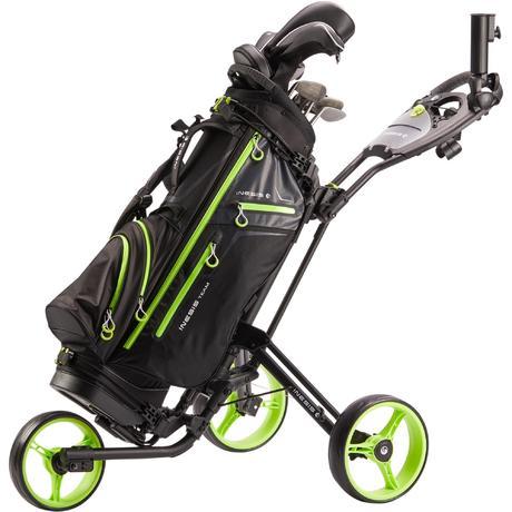 chariot de golf 3 roues 900 noir et jaune fluo inesis golf. Black Bedroom Furniture Sets. Home Design Ideas