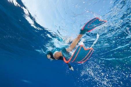Aletas de snorkel o submarinismo con botella SNK 540 adulto azul turquesa rojo
