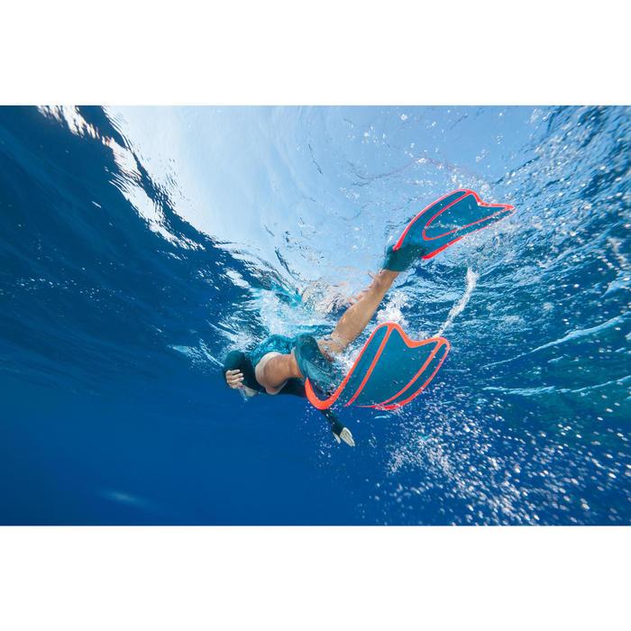 Palmes de snorkeling ou de plongée bouteille SNK 540 adulte turquoises rouges - 1323691