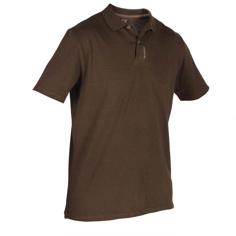 100 Short Sleeve Hunting Polo Shirt - Khaki