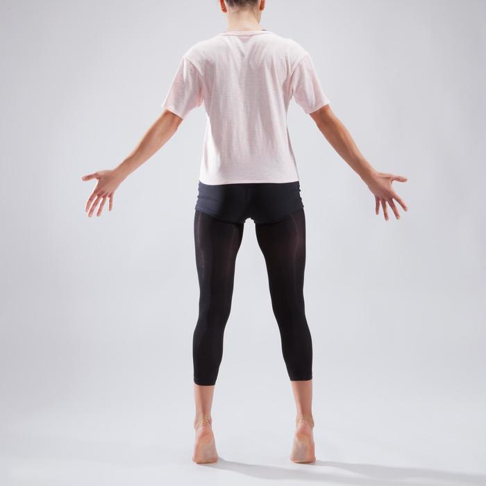 Camiseta corta de danza mujer rosa palo