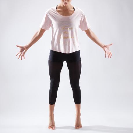 T-shirt court de danse femme rose pâle  aedda45789d