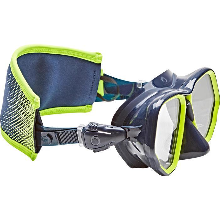 Funda de correa de máscara de buceo neopreno azul/amarillo flúor