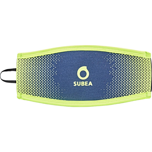 Neoprene over-strap for diving masks blue/fluo yellow
