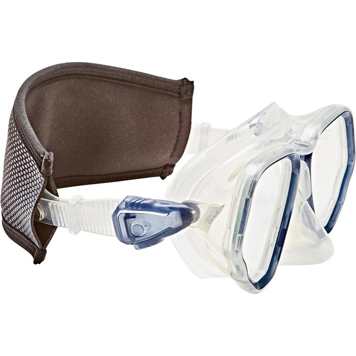 Neoprene over-strap for diving masks black/blue