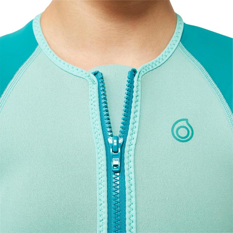 เสื้อดำน้ำตื้นนีโอพรีนสำหรับเด็กรุ่น SNK ML 500 หนา 1.5 มม. (สีฟ้า Turquoise)