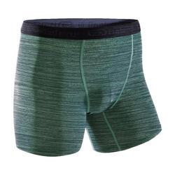 Ademende boxershort voor hardlopen heren gemêleerd groen