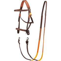 Cabezada + riendas equitación 100 marrón - talla poni