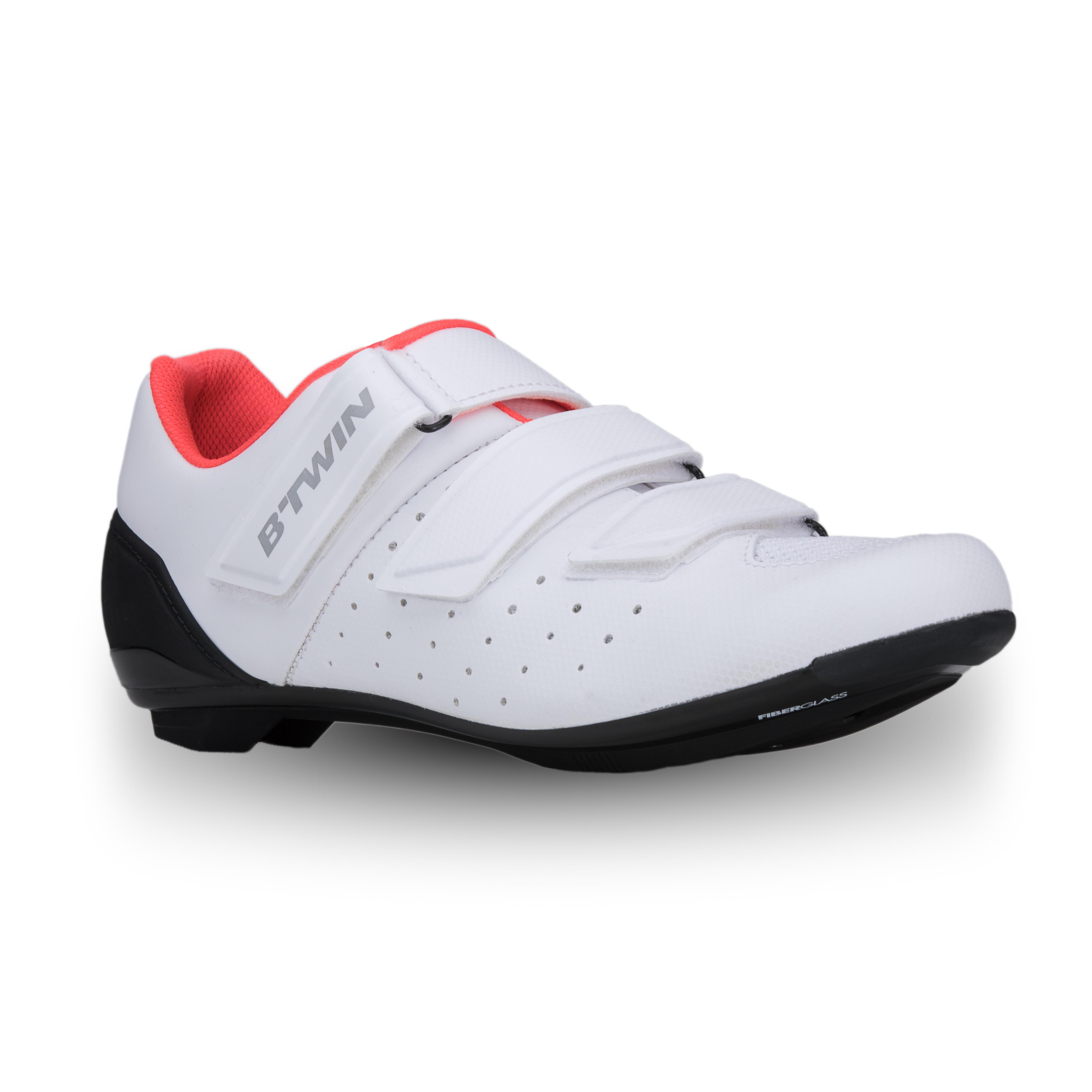 Chaussures vélo route Cyclosport 500 ROSE BLANC - Van rysel