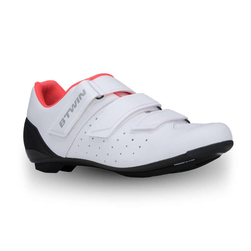 ROADR BIKE SHOES Cycling - 500 Women's Road Cycling Shoes - White/pink VAN RYSEL - Cycling